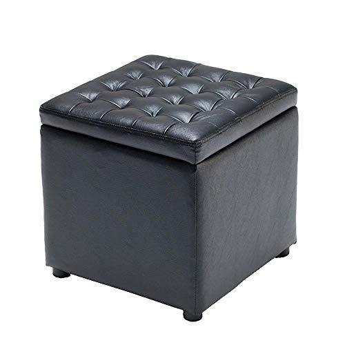 LAOSUNJIA Voetkrukken Opbergbank Ottomaanse Soafa Kruk Rust Kruk Koeienhuid Veelzijdige CubesMax Lading 300Kg Zwart