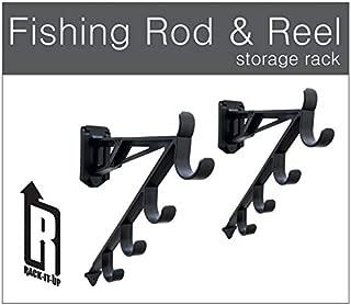 Marketing Holders Rack-It-Up Fishing Rod and Reel Wall Mount Garage Rack Skis Yard Tools Golf Club Holder Orgainizer (Set of 1)