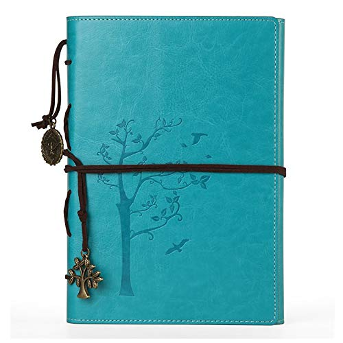 VALERY classic Leather Notebook-vintage Diary &Journal -Lined Refillable Pages-mediterranean &Middle Ages Design-men&women Daily Use Gift(Aqua blue)