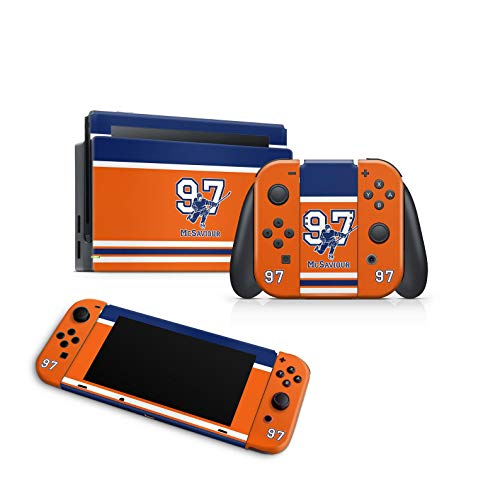 ZOOMHITSKINS Switch Skins, Team Skaters Orange Hockey Canada Navy Blue Goal Cup Ice Skate, High Quality, Durable, Bubble-free Goo-free, Front & Back for Console, JoyCon, Dock, Confort Grip, USA Made
