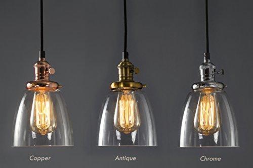 Feven - Iluminación colgante, lámpara de techo transparente, iluminación vintage de alta calidad, combina con cualquier decoración, bombilla incluida, para cocina, loft, comedor y mucho más