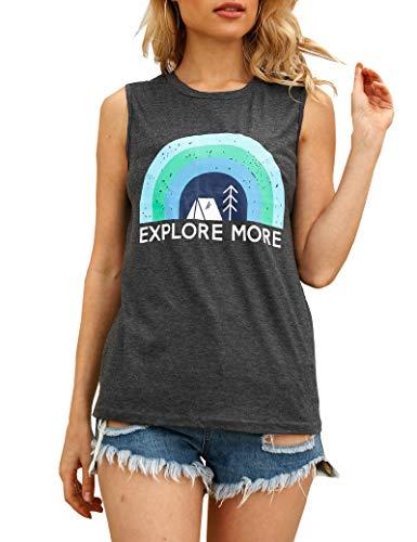 IRISGOD Womens Explore More Tank Tops Funny Vintage Short Sleeve Camping Hiking Rainbow Graphic Tees Tshirts
