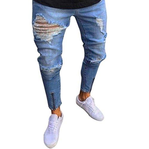 Men Jeans Daoroka Men's Vintage Slim Fit Stretchy Skinny Biker Zipper Long Straight Denim Distressed Rip Pants Casual Trousers (2XL, Light Blue)