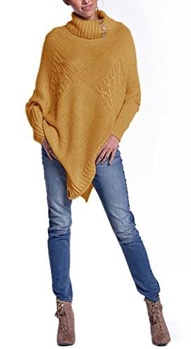 Mikos* Damen Eleganter Frühling Poncho Strickponcho mit Stehkragen-Rollkragen und Knöpfen Umhang Pullover Pulli Überwurf Einheitsgröße 36 38 40 S M L in vielen Farben erhältlich (597) (Curry)