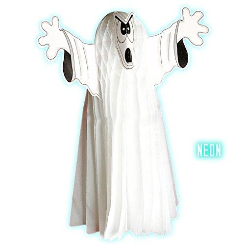 NET TOYS Neonleuchtende Geister Deko Große Gespenst Figur weiß Höhe 25 cm Halloween Gespenst Halloweendeko Grusel Dekoration