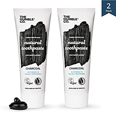The Humble Co. Natural Fluoride Toothpaste (2 pack) - Eco-Friendly, Vegan for your Everyday Oral Care - Dentist Approved - Prevents Bad Breath, Caries, Plaque, (Adults and Kids) (Charcoal)