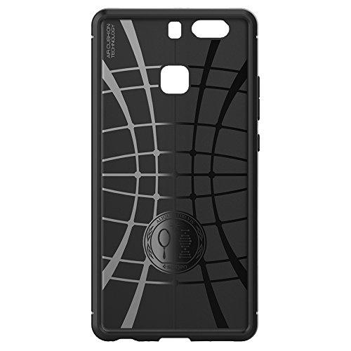 Spigen Huawei P9 Hülle, [Rugged Armor] Elastisch [Schwarz] Ultimative Schutz vor Stürzen und Stößen [Karbon Look] Schutzhülle für Huawei P9 Case, Huawei P9 Cover Black (L06CS20376) - 6