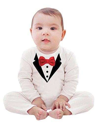 YOUJIA Smoking pour Bébé de 0 à 24 Mois avec Imprimé Nœud Papillon Rouge Romper Bodysuit Blanc(Hauteur 80CM)