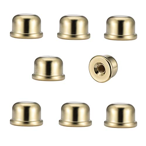 Canomo Pack of 8 Solid Metal Lamp Finials Caps tapped 1/4-27 for Lamp Shade Holder Harp, 1/2 Inch Tall, Gold