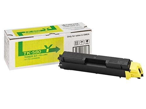 Kyocera TK-580Y Toner Gelb, Original Tonerkartusche 1T02KTCNL0. Kompatibel für FS-C5150DN, Ecosys P6021cdn