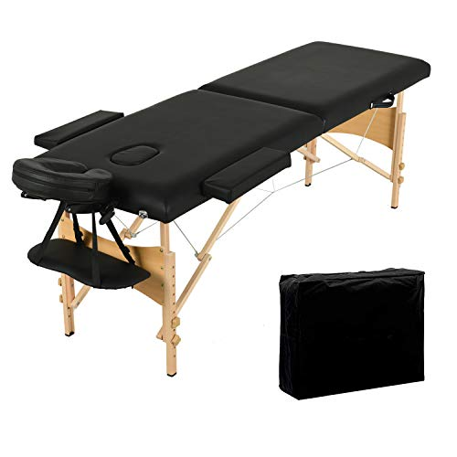 Nager Folding Massage Table 84'' Professional Massage Bed 2 Fold Lash Bed with Head-& Armrest, Black