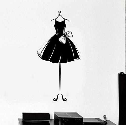 Vinyl Muursticker Jurk Korte Mannequin Jurk Ballerina Meisje Slaapkamer Huis Decor Shop Raam Stickers Bow-Knot Mural Art 42X87Cm