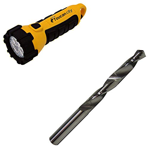 Toucan City LED Flashlight and Drill America 3/8 in. Solid Carbide Twist Drill Bit DMOD3/8
