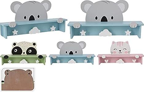 Perchero de pared + estante 2 en 1 de madera, perchero de habitación infantil, tema Koala, 3 modelos de animales disponibles.