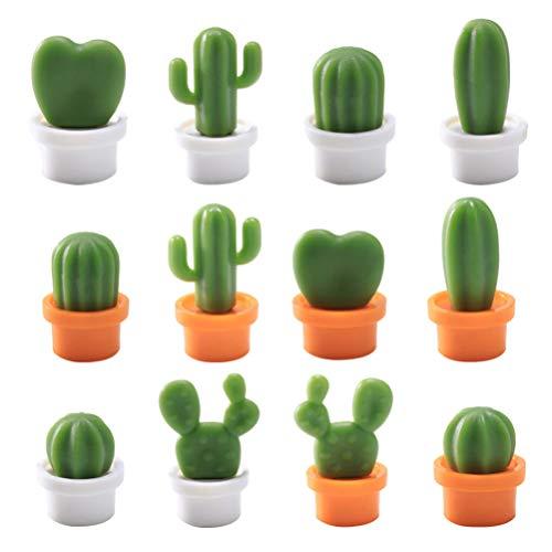 Cabilock 24 Unidades de Imanes de Nevera de Cactus de Dibujos Animados Lindo Kawaii Imán de Nevera Imán Decorativo Pegatina para Puerta de Metal Armarios de Oficina de Garaje Habitación de