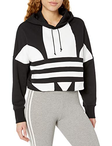 adidas Originals Women's Large Logo Cropped Hoodie Sweatshirt, Black/White, S