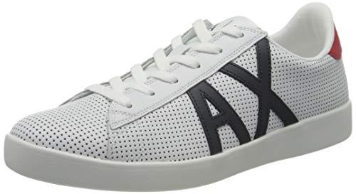 Armani Exchange AX Logo Box Sole Sneakers, Zapatillas Hombre, Blanco (Opt White+Navy+Red M476), 42 EU