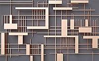 壁の壁画 壁紙 ウォールカバー 幾何学的な縞模様の正方形 壁画 壁紙 ベッドルーム リビングルーム ソファ テレビ 背景 壁 壁面装飾のための,300x210cm