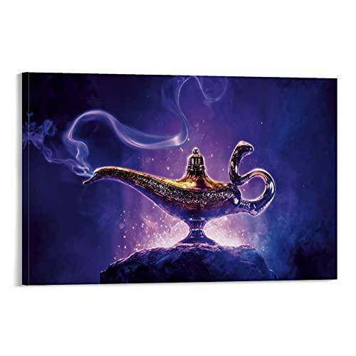 Póster de lámpara mágica de Aladdin en lienzo, póster y arte de pared, diseño moderno de dormitorio familiar, 40 x 60 cm