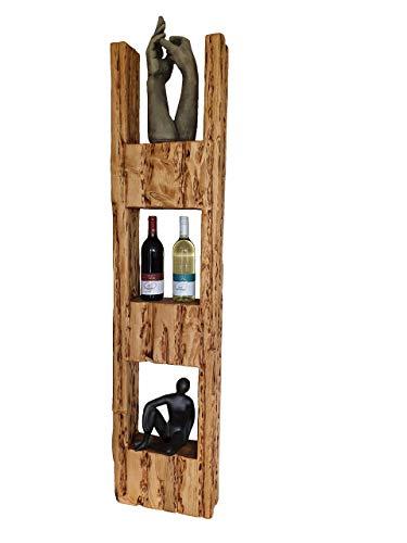 Wood & Wishes - Rustikales Wandregal, Wandboard, Standregal, Schweberegal aus Massivholz; gefertigt in Handarbeit mit 3 Ablagen; dekoratives Unikat; Treibholzoptik; HBT ca. 150 x 36 x 12 cm
