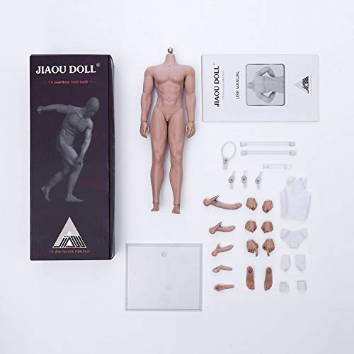 JIAOU DOLL 1/6 Scale Male Body, 12 inches Super Flexible Seamless Action Figure with Stainless Steel Skeleton (Muscular Body - Wheat Complexion)