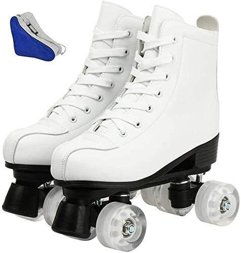 Damen Rollschuhe Leuchtende Räder, zweireihige Rollschuhe Glänzende Derby Skates Leuchtend für Jugendliche und Jugendliche (Weiß Kein Blitz, 38-US: 7)