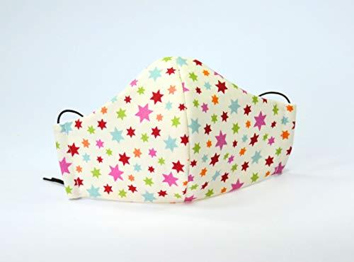 Kinder Behelfsmaske Bunte Sternchen unisex Baumwollmaske Kindermotiv Facie wiederverwendbar