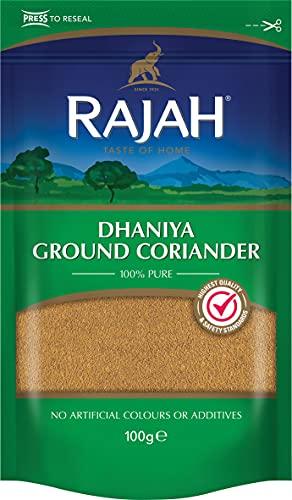 Rajah Cilantro molido - Dhaniya Ground Coriander - Mezcla de especias indias para numerosos platos 100 g