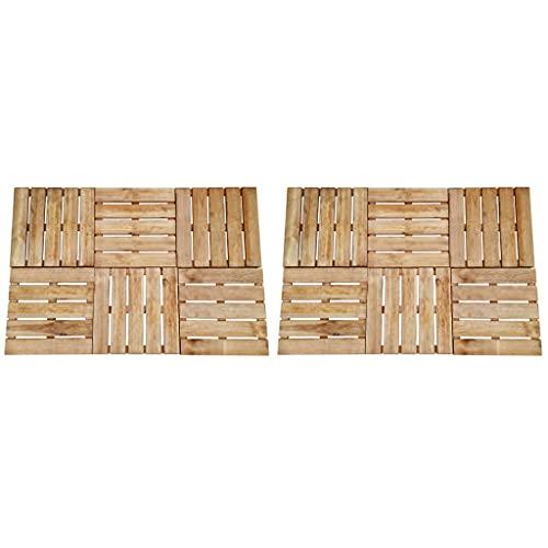 Baldosa de Porche 12 Unidades Madera marrón 50x50 cm