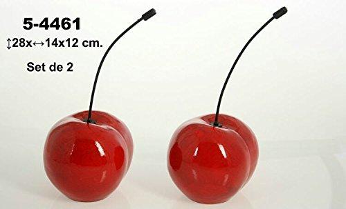 DONREGALOWEB Set de 2 Figuras de Cerezas Rojas de cerámica con rabo metálico
