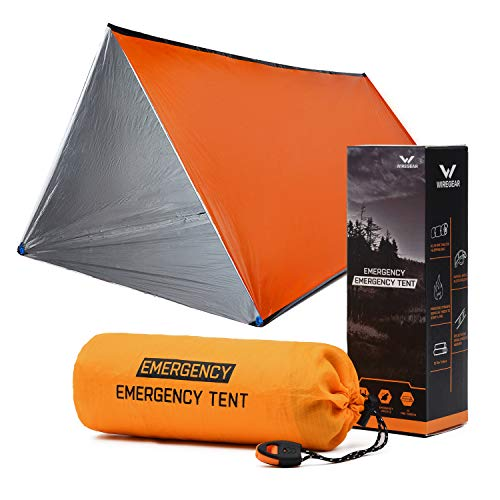 W WIREGEAR Emergency Shelter Tube Tent Compact Tent Includes Fire Starter 5 Fire Tinders 2 Survival Whistles 4 Tent Stakes Use Thicker Polyethylene Material Emergency Tent for Hiking Camping