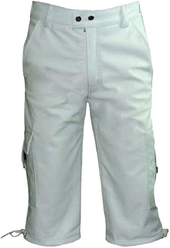 Mens Real Genuine White Leather Combat Cargo Shorts Lederhosen