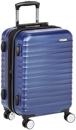 AmazonBasics premium harde omhulsel spinnerbagage met ingebouwd TSA-slot - 55 cm handbagage, blauw