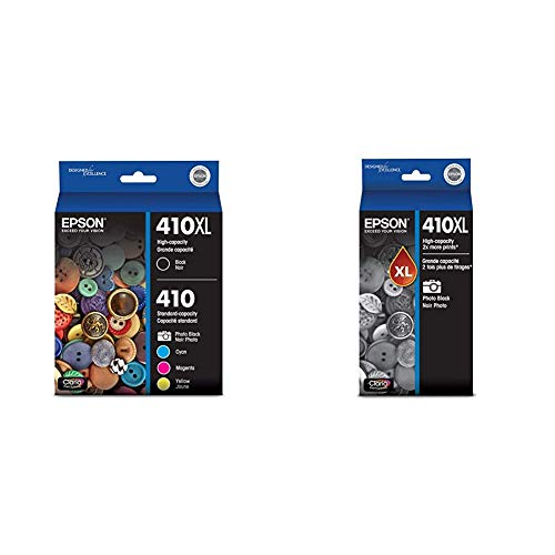 Epson 410XL Black & Standard Photo Black and C/M/Y Color Ink Cartridges, Combo 5 Pack (T410XL-BCS) & 410XL Photo Black Ink Cartridge, High Capacity (T410XL120)