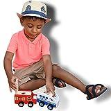 ML Coche de Madera para niños Porta Lapiz de Madera (Rojo). Juguete Ambulancia con Ruedas