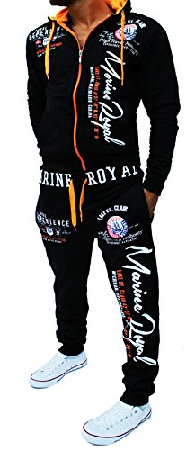 Yalvis Herren Trainingsanzug Sportanzug A.Marine (Schwarz-orange,4XL)