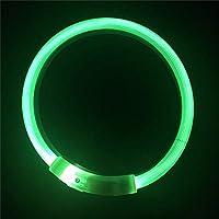 犬 LED 首輪ライトアップ フラッシュ 首輪 USB充電式 ペット用 調節可能 夜の安全 グリーン 35cm