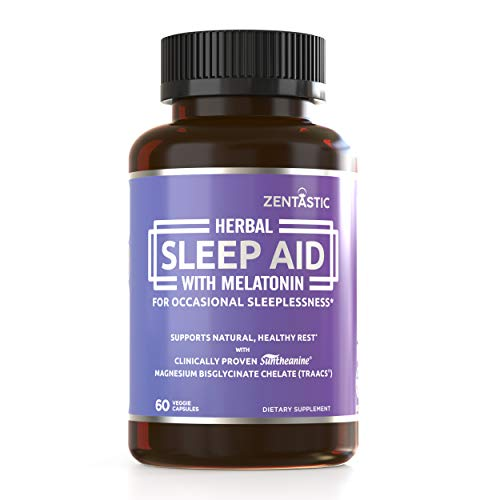 Zentastic Herbal Sleep Aid – Non Habit Forming Sleeping Pills (1013mg) - Anxiety and Insomnia Relief – Melatonin, Valerian, Suntheanine, Magnesium, & More – Drug Free & Made in USA, 60 Capsules