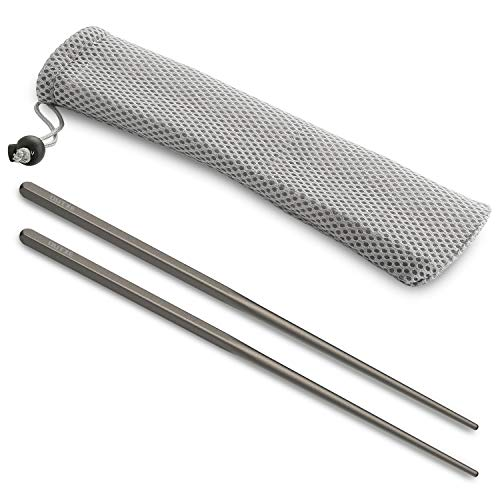 OUTXE Titanium Chopsticks Square Reusable Chopsticks Dishwasher Safe with Mesh Carrying Bag, Lightweight and Sturdy