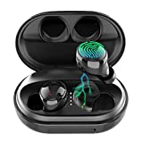 Wireless Earbuds Bluetooth 5.0 Headphones, 120H Playtime Deep Bass Stereo Sound Earbuds with Microphone, IPX8 Waterproof Headphones with Charging Case for Sports (Renewed)