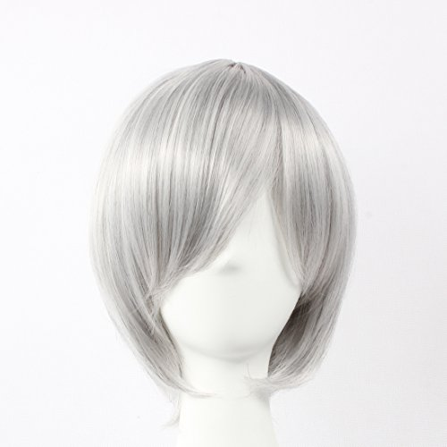 HOOLAZA Light Gray Short Straight Wig Kiryu Zero Kiryuu Ichiru Nagisa Kaworu YatenKou Kawahirano Ojisan Ivan Braginsky Gilbert Beillschmidt for the Halloween Party Cosplay Wigs