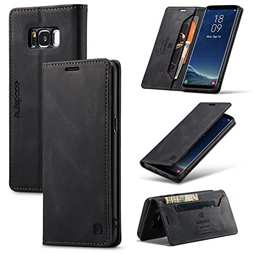 Autspace - Custodia a portafoglio per Samsung Galaxy S8, in pelle sintetica di poliuretano, con funzione di blocco RFID, chiusura magnetica, con cavalletto, antiurto, colore: Nero
