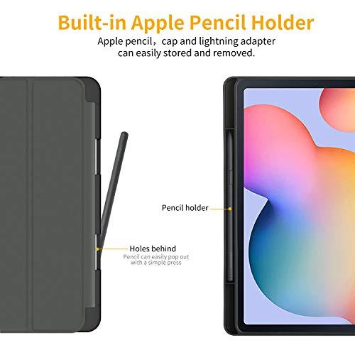 EasyAcc Hülle Kompatibel mit Samsung Galaxy Tab S6 Lite 2020 mit Panzerglas - Ultra Dünn mit Standfunktion Slim PU Leder Schutzhülle Passt für Samsung Tab S6 Lite 10.4 Zoll SM-P610N/P615N, Schwarz