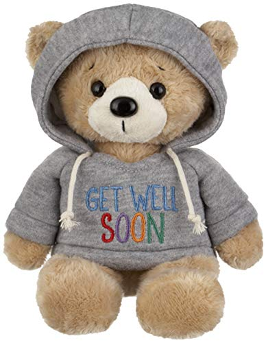 Ganz 9 Get Well Teddy Bear with Gray Hoodie Stuffed Animal for Comfort and Love