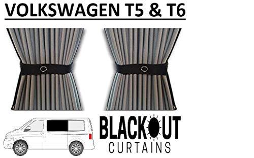 Just Kampers Juego de cortinas opacas para puerta corredera y par medio opuesto compatible con T5 T6 Transporter