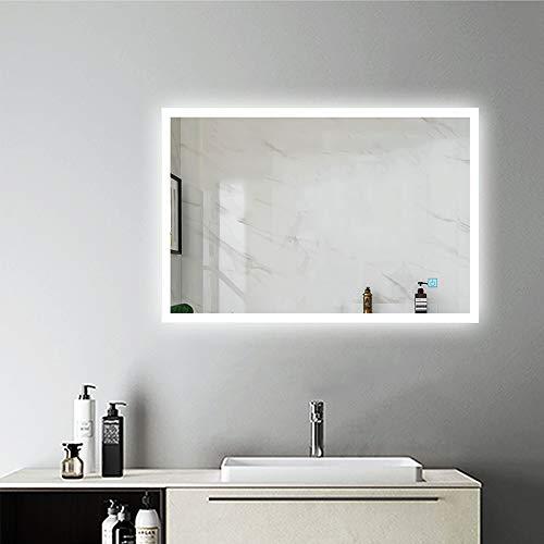 AicaSanitär LED Spiegel 80×60 cm Badspiegel Duschspiegel Kaltweiß Touch BESCHLAGFREI