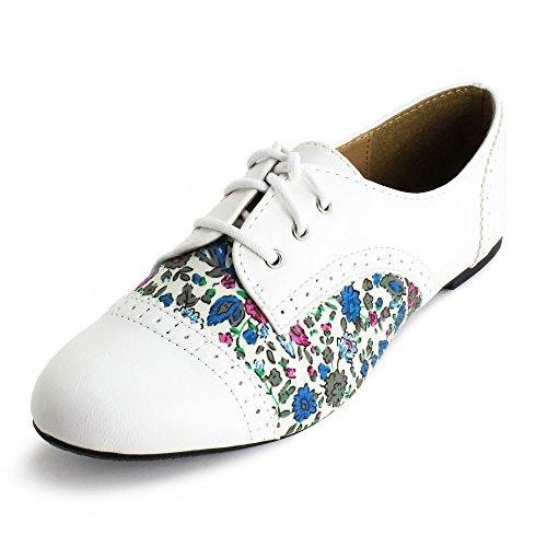 Lace Up Floral Flat Oxford Shoes Womens White 7