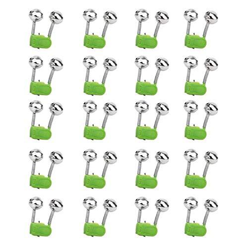 USIRIY Angel Klingel, 20 Pcs Twin Glocken Angelgerät Bissanzeiger Angeln Glocke Grundangeln Zubehör, Bissanzeiger für Angler