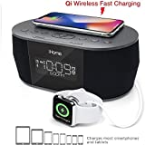 iHome iBTW38 Alarm Clock Bluetooth Stereo with Lightning iPhone Qi Wireless Charging Dock Station for iPhone Xs, XS Max,...