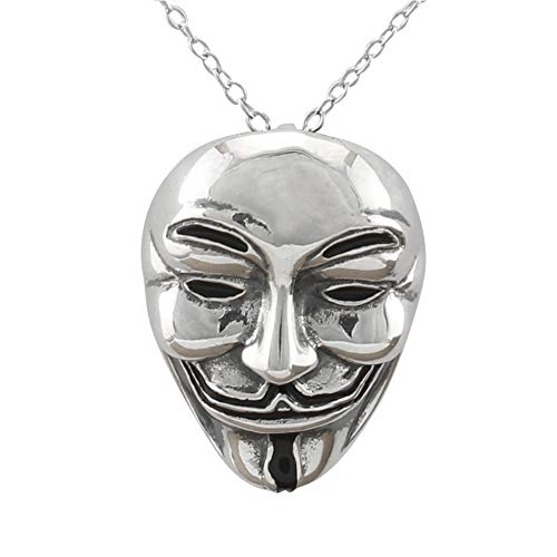 Serebra Jewelry Guy Fawkes Maske Anhänger Halskette aus 925 Sterlingsilber